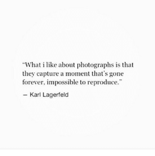 "karl lagerfeld: ""What i like about photographs is that  they capture a moment that's gone  forever, impossible to reproduce  - Karl Lagerfeld"