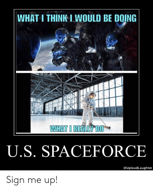 What I Really Do, Think, and Sign: WHAT I THINK I WOULD BE DOING  WHAT I REALLY DO  U.S. SPACEFORCE  @UploadLaughter Sign me up!