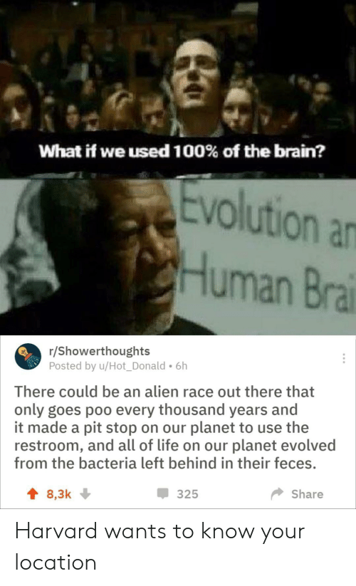 Life, Alien, and Brain: What if we used 100% of the brain?  Evolution an  Human Bra  /Showerthoughts  Posted by u/Hot_Donald. 6h  There could be an alien race out there that  only goes poo every thousand years and  it made a pit stop on our planet to use the  restroom, and all of life on our planet evolved  from the bacteria left behind in their feces.  325  Share  t 8,3k Harvard wants to know your location