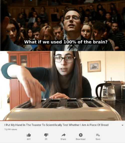 Brain, Test, and Bread: What if we used 100% of the brain?  l Put My Hand In The Toaster To Scientifically Test Whether Am A Piece Of Bread  15,499 views  39  661  Share  Download  Save