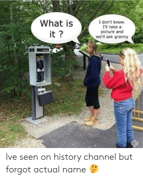 Memes, History, and What Is: What is  I don't know  I'll take a  picture and  we'll ask granny  it Ive seen on history channel but forgot actual name 🤔