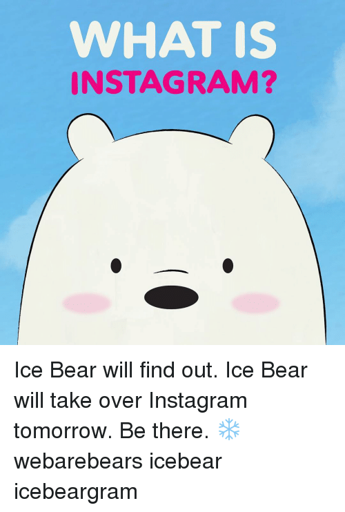 Instagram, Memes, and Bear: WHAT IS  INSTAGRAM? Ice Bear will find out. Ice Bear will take over Instagram tomorrow. Be there. ❄️ webarebears icebear icebeargram