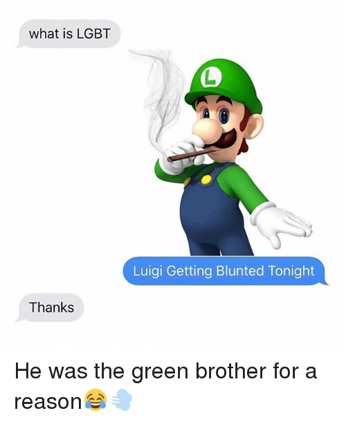 Blunted: what is LGBT  Luigi Getting Blunted Tonight  Thanks He was the green brother for a reason😂💨