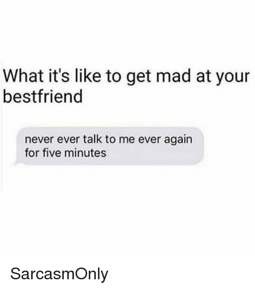 Funny, Memes, and Mad: What it's like to get mad at your  bestfriend  never ever talk to me ever again  for five minutes SarcasmOnly