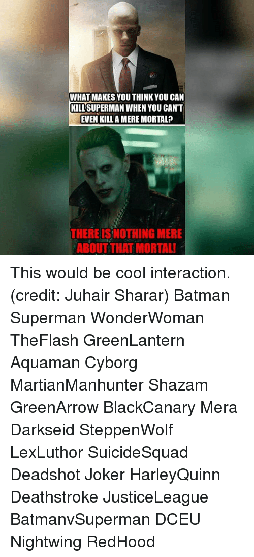 Batmane: WHAT MAKES YOU THINK YOU CAN  KILLSUPERMAN WHEN YOU CANT  EVEN KILL A MERE MORTAL  THERE ISNOTHING MERE  ABOUT THAT MORTAL! This would be cool interaction. (credit: Juhair Sharar) Batman Superman WonderWoman TheFlash GreenLantern Aquaman Cyborg MartianManhunter Shazam GreenArrow BlackCanary Mera Darkseid SteppenWolf LexLuthor SuicideSquad Deadshot Joker HarleyQuinn Deathstroke JusticeLeague BatmanvSuperman DCEU Nightwing RedHood