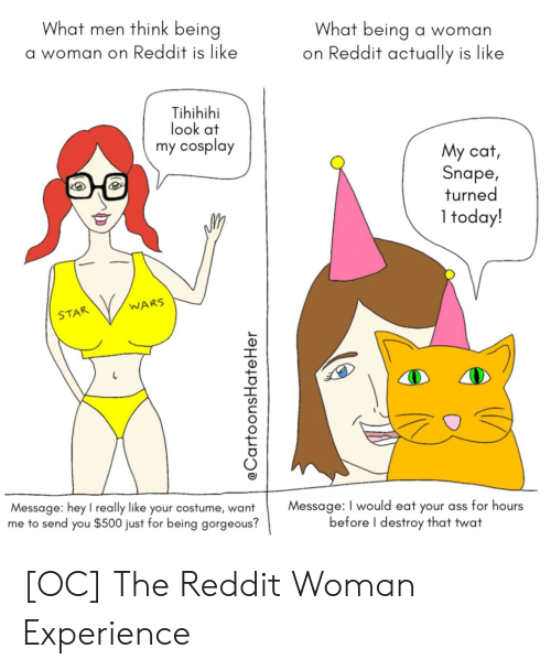 Ass, Reddit, and Cosplay: What men think being  What being a woman  on Reddit actually is like  a woman on Reddit is like  Tihihihi  look at  my cosplay  My cat,  Snape,  turned  1 today!  WARS  STAR  Message: I would eat your ass for hours  before I destroy that twat  Message: hey l really like your costume, want  me to send you $500 just for being gorgeous?  @CartoonsHate Her [OC] The Reddit Woman Experience