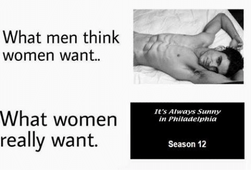 It's Always Sunny in Philadelphia: What men think  women want  What women  really want.  It's Always Sunny  in Philadelphia  Season 12