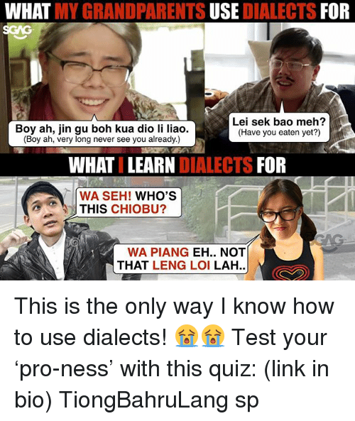 Mehs: WHAT MY GRANDPARENTS USE DIALECTS FOR  SGAG  Boy ah, jin gu boh kua dio li liao.  (Boy ah, very long never see you already.)  Lei sek bao meh?  (Have you eaten yet?)  WHATI LEARN DIALECTS FOR  WA SEH! WHO'S  THIS CHIOBU?  WA PIANG EH.. NOT  THAT LENG LOI LAH.. This is the only way I know how to use dialects! 😭😭 Test your 'pro-ness' with this quiz: (link in bio) TiongBahruLang sp