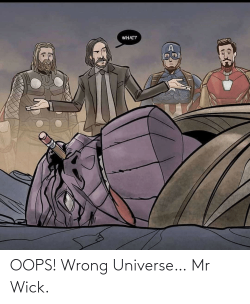 oops: WHAT? OOPS! Wrong Universe… Mr Wick.