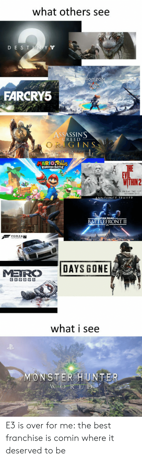 Friday, Monster, and Best: what others see  DE ST  orizo  FARCRY5  ASSASSIN'S  REED  GINS  HE  FRIDAY THE 13  BATTLEFRONT II  MR DAYS GONE  what i see  MONSTER HUNTER E3 is over for me: the best franchise is comin where it deserved to be
