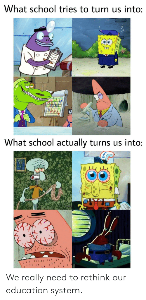 School, Education, and System: What school tries to turn us into:  What school actually turns us into:  kmik We really need to rethink our education system.