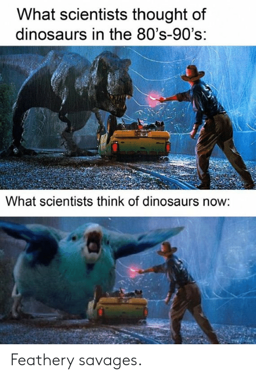 savages: What scientists thought of  dinosaurs in the 80's-90's:  What scientists think of dinosaurs now: Feathery savages.