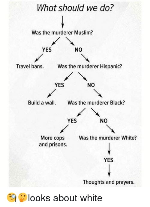 Memes, Muslim, and Black: What should we do?  Was the murderer Muslim?  YES  NO  Travel bans Was the murderer Hispanic?  YES  NO  Build a wall Was the murderer Black?  YES  NO  More cops  and prisons.  Was the murderer White?  YES  Thoughts and prayers. 🧐🤔looks about white