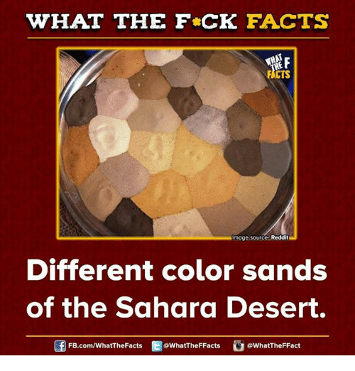 imags: WHAT THE FCK FACTS  FACTS  Image Source Reddit  Different color sands  of the Sahara Desert.  FB.com/WhatThe Facts  @WhatTheFFacts  @WhatTheFFact