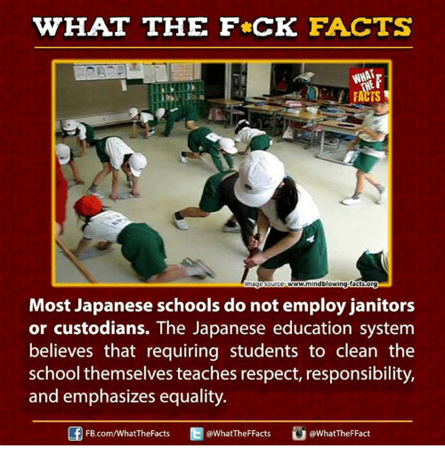 Ed, Edd n Eddy: WHAT THE FCK FACTS  WHAT  www.mindblowing facts.org  mage Source  Most Japanese schools do not employ janitors  or custodians. The Japanese education system  believes that requiring students to clean the  school themselves teaches respect, responsibility,  and emphasizes equality.  Ed @What TheFFact  @What TheF Facts  FB.com/WhatThe Facts