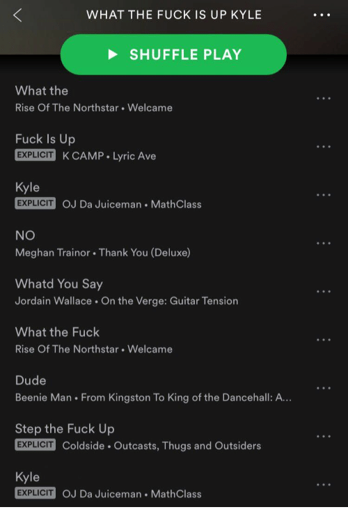 Beenie Man, Dude, and Thank You: WHAT THE FUCK IS UP KYLE  SHUFFLE PLAY  What the  Rise Of The Northstar. Welcame  Fuck Is Up  EXPLICIT K CAMP Lyric Ave  Kyle  EXPLICIT  OJ Da Juiceman MathClass  NO  Meghan Trainor. Thank You (Deluxe)  Whatd You Say  Jordain Wallace On the Verge: Guitar Tension  What the Fuck  Rise Of The Northstar. Welcame  Dude  Beenie Man From Kingston To King of the Dancehall: A...  Step the Fuck Up  Coldside Outcasts, Thugs and Outsiders  Kyle  EXPLICIT  OJ Da Juiceman MathClass