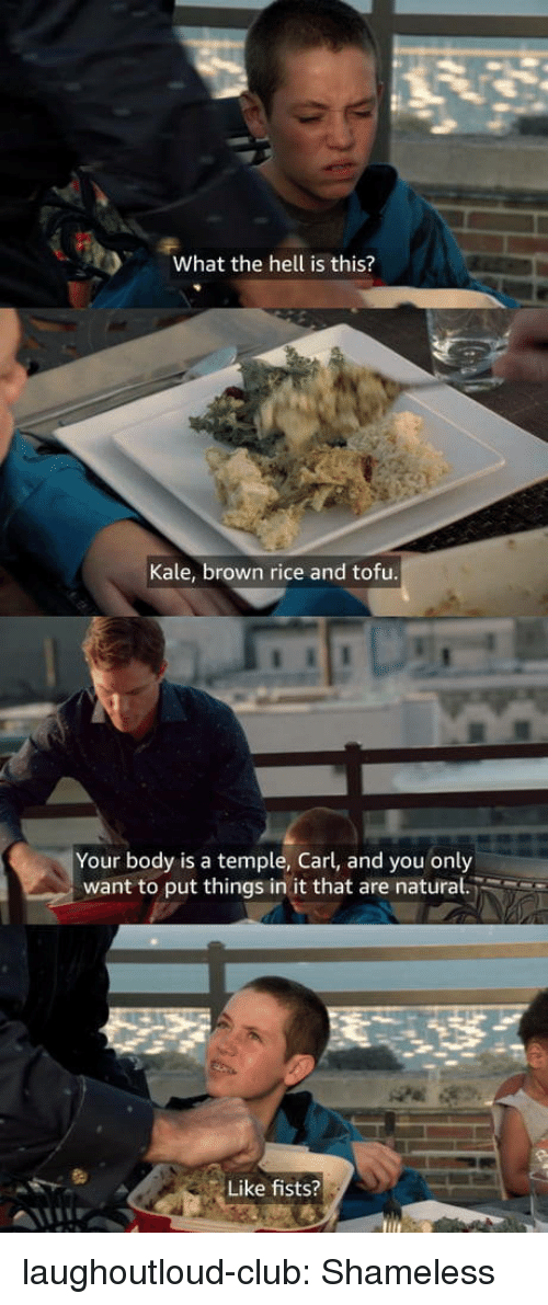 tofu: What the hell is this?  Kale, brown rice and tofu  Your body is a temple, Carl, and you only  want to put things in it that are natural.  Like fists? laughoutloud-club:  Shameless