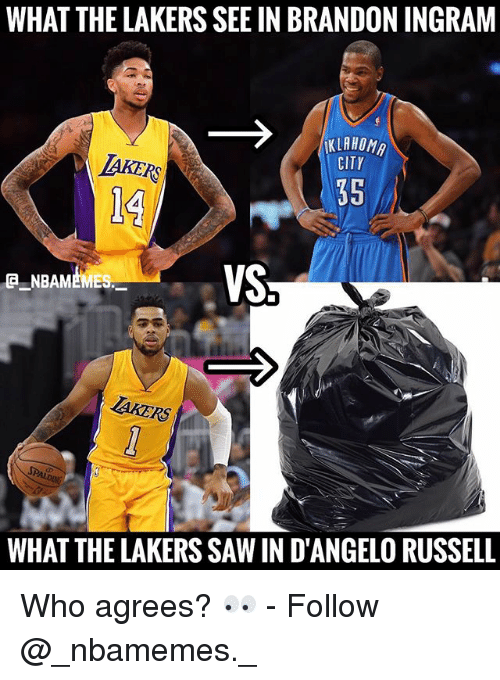 brandon ingram: WHAT THE LAKERS SEE IN BRANDON INGRAM  KLAHOM  CITY  AKERS  14  35  VS  CNBAMEMES  TAKERS  WHAT THE LAKERS SAW IN D'ANGELO RUSSELL Who agrees? 👀 - Follow @_nbamemes._
