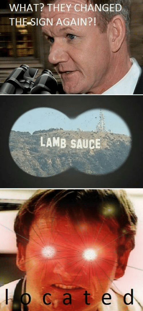 Lamb Sauce: WHAT? THEY CHANGED  THE SIGN AGAIN?!  LAMB SAUCE