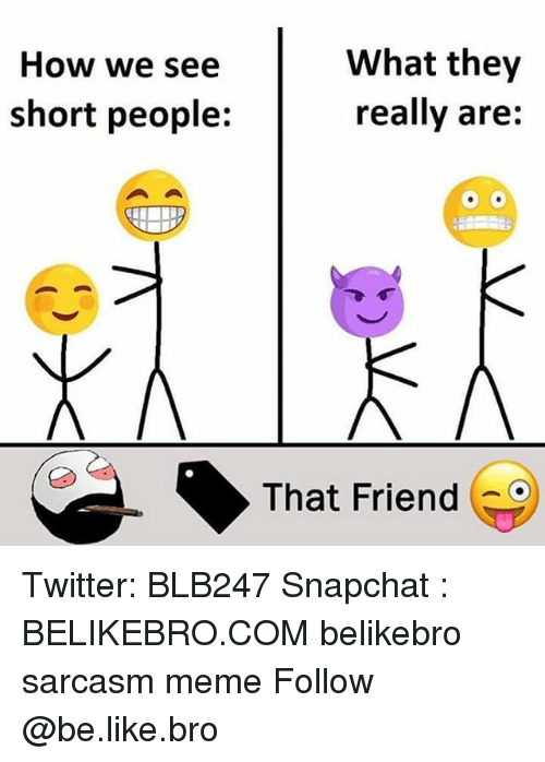 Be Like, Meme, and Memes: What they  really are:  How we see  short people:  That Friend Twitter: BLB247 Snapchat : BELIKEBRO.COM belikebro sarcasm meme Follow @be.like.bro