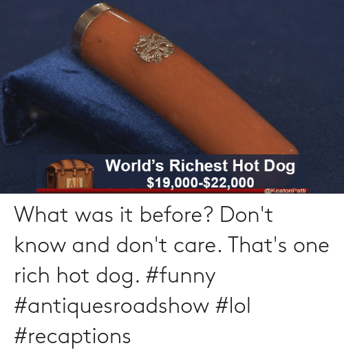 Dont Know: What was it before? Don't know and don't care. That's one rich hot dog. #funny #antiquesroadshow #lol #recaptions