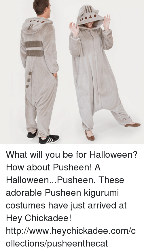 chickadee: What will you be for Halloween? How about Pusheen!  A Halloween...Pusheen. These adorable Pusheen kigurumi costumes have just arrived at Hey Chickadee!  http://www.heychickadee.com/collections/pusheenthecat
