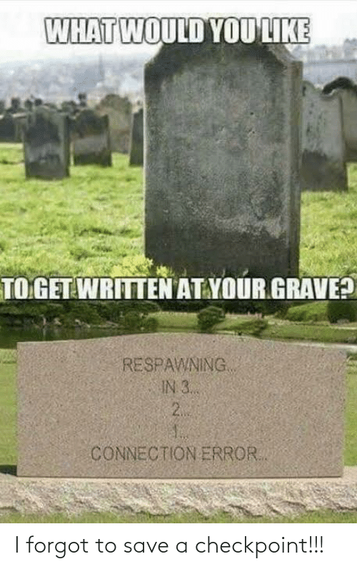 Connection: WHAT WOULD YOU LIKE  TO GET WRITTEN AT YOUR GRAVE?  RESPAWNING  IN 3..  2.  CONNECTION ERROR. I forgot to save a checkpoint!!!