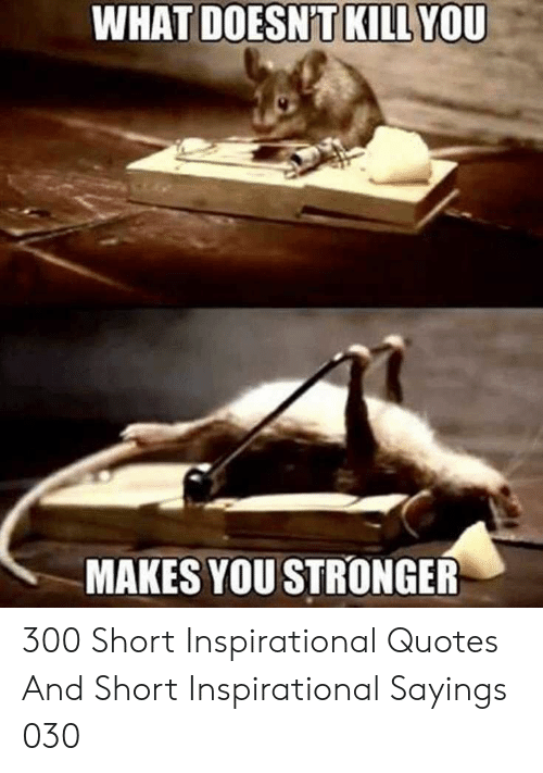 Quotes, You, and What: WHAT  YOU  DOESNT KILL  MAKES YOU STRONGER 300 Short Inspirational Quotes And Short Inspirational Sayings 030