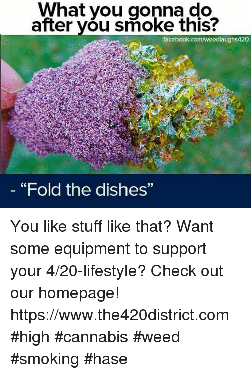 """what you gonna do: What you gonna do  after you smoke this?  facebook.com/weedlaughs420  """"Fold the dishes""""  9) You like stuff like that? Want some equipment to support your 4/20-lifestyle? Check out our homepage! https://www.the420district.com #high #cannabis #weed #smoking #hase"""