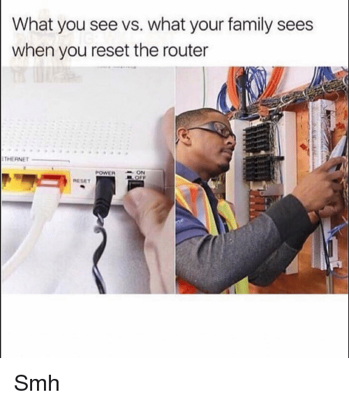 Family, Funny, and Smh: What you see vs. what your family sees  when you reset the router  THERNET  POWERON  EL OFF  RESET Smh