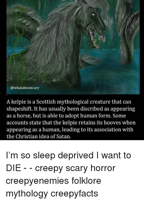 sleep deprived: @whataboutscary  A kelpie is a Scottish mythological creature that can  shapeshift. It has usually been discribed as appearing  as a horse, but is able to adopt human form. Some  accounts state that the kelpie retains its hooves when  appearing as a human, leading to its association with  the Christian idea of Satan. I'm so sleep deprived I want to DIE - - creepy scary horror creepyenemies folklore mythology creepyfacts