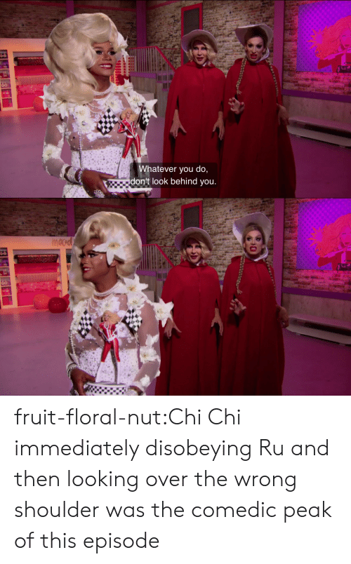 Target, Tumblr, and Blog: Whatever you do,  don't look behind you.   nocd fruit-floral-nut:Chi Chi immediately disobeying Ru and then looking over the wrong shoulder was the comedic peak of this episode