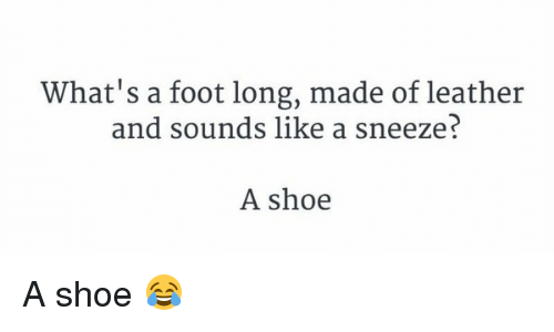 A Sneeze: What's a foot long, made of leather  and sounds like a sneeze?  A shoe A shoe 😂