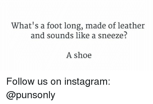 A Sneeze: What's a foot long, made of leather  and sounds like a sneeze?  A shoe Follow us on instagram: @punsonly