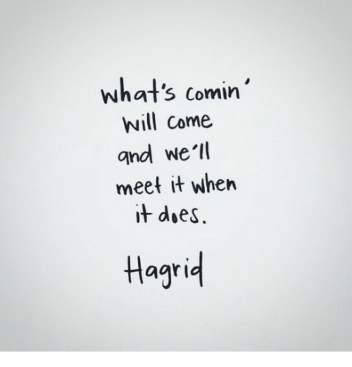 Hagrid, Will, and Whats: what's comin'  will come  and we'l  meet it when  it doeS.  Hagrid