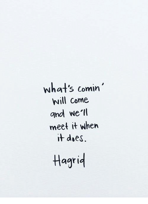 Hagrid, Will, and Whats: what's comin'  will come  and we'll  meet it when  i+ doeS.  Hagrid