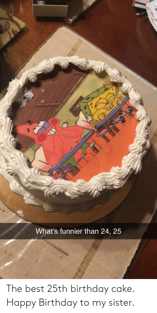 Cake: What's funnier than 24, 25 The best 25th birthday cake. Happy Birthday to my sister.