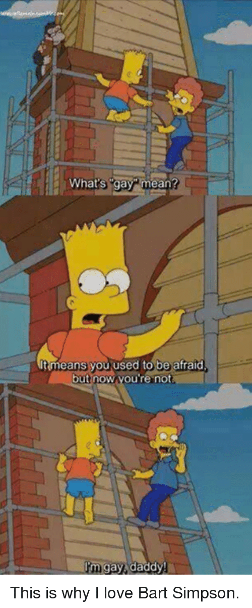 Bart Simpson: What's gay mean?  It means you used to be afraid  but no  you're not  a I'm gay daddy! This is why I love Bart Simpson.