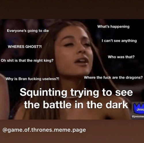game of thrones meme: What's happening  Everyone's going to die  I can't see anything  WHERES GHOST?!  Who was that?  Oh shit is that the night king?  Where the fuck are the dragons?  Why is Bran fucking useless?!  Squinting trying to see  the battle in the dark  Jmǐ  @jmicmer  @game.of.thrones.meme.page