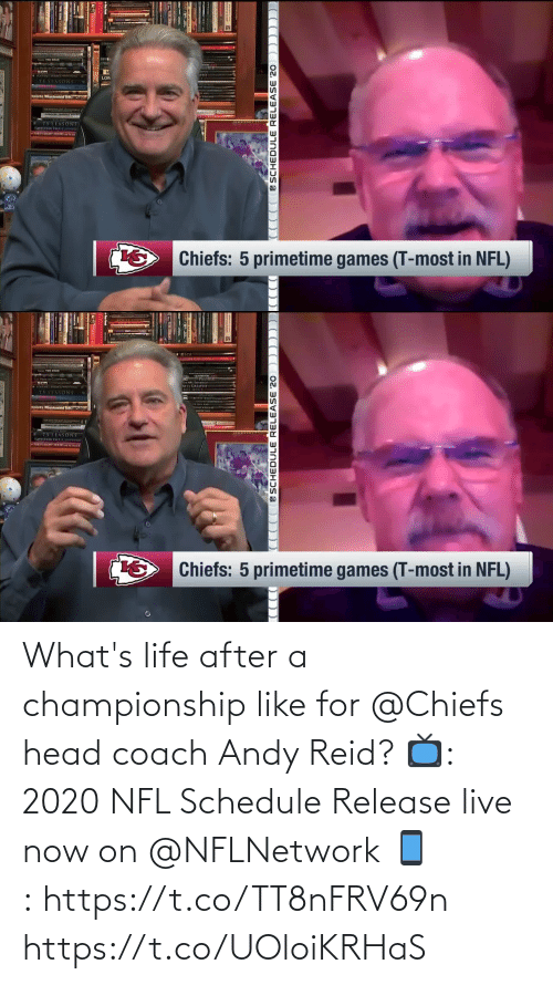Schedule: What's life after a championship like for @Chiefs head coach Andy Reid?  📺: 2020 NFL Schedule Release live now on @NFLNetwork 📱:https://t.co/TT8nFRV69n https://t.co/UOloiKRHaS