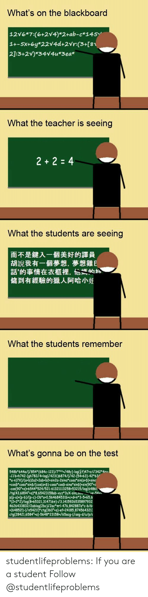 "suv: What's on the blackboard  12V6 7:(6+2V4) 2+ab-c 145  What the teacher is seeing  What the students are seeing  而不是鍵入一個美好的譯員  胡說我有一個夢想,夢想雞E  話'的事情在衣櫃裡,他媽的お  傭到有經驗的獵人阿哈小姙  What the students remember  What's gonna be on the test  548b""644a/(/854* (684c-123)/7m,/48yJ-log(⅞f)47-z//342° 4av.  /6+h742-[gh782/4-log(/4231 )6874/(/42-54+63)-42*63/  a-n)7X)/(a+b)2a2+2ab+b2 sin2a-2sina cosa sina+p) sine  -cosp""cosa""sinß/(cos(a+p)-cosa""cocp-sina""sinh]+sin(90%o  -cos(90°+a)+6544*524/521-61321113258+53215/log(6486  /tg(43,6894%a)""8,65423158ab-xyz""3yX-sin(suv e-54.  p(p-a)+(p-b)/(p-c)-Ob a 0,564684531b+cedn 3-5+65,6  ""(2+2""2)/log(8+65321,314716T)-J3.1415926535897932  4626433832/2ablog(2bc)/2ac mrl-476,842887a*c-b/6  (64852)-(5421!) ctg(360° a)-ef 24185,8745643213  ctg(28421,6584 +a)-5648 23158+/65acg-(Jasg-d/u/p/c studentlifeproblems:  If you are a student Follow @studentlifeproblems​"