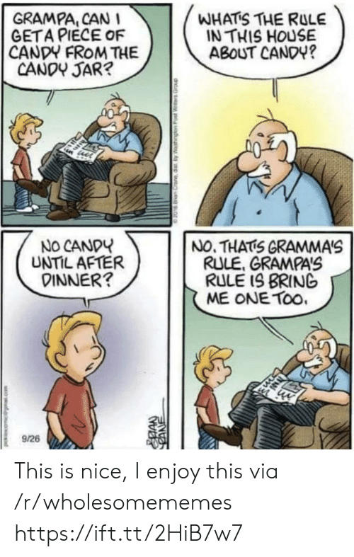 In This House: WHATS THE RULE  IN THIS HOUSE  ABOUT CANDY?  GRAMPA, CAN I  GETA PIECE OF  CANDY FROM THE  CANDY JAR?  NO CANDY  UNTIL AFTER  DINNER?  NO. THATS GRAMMA'S  RULE, GRAMPAS  RULE IS BRING  ME ONE TOo.  9/26  CANE This is nice, I enjoy this via /r/wholesomememes https://ift.tt/2HiB7w7