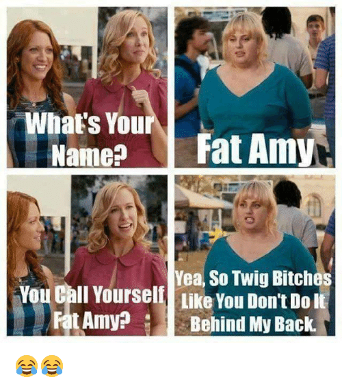fat amy: What's You  Name?  Fat Amy  Yea, So Twig Bitches  You Call Yourseli Like You Don't Do it  t Amy  Behind My Back. 😂😂