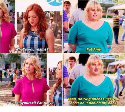 fat amy: What's your name?  i  You call yourself Fat Amy?  Fat Amy  Meah, so twig bitches like you  don't do it behind my back