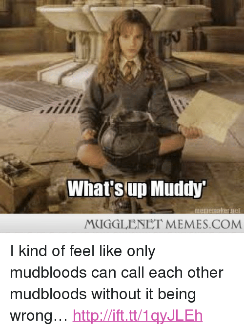 "Muddy: What'sup Muddy  MUGGLENET MEMES.COM <p>I kind of feel like only mudbloods can call each other mudbloods without it being wrong&hellip; <a href=""http://ift.tt/1qyJLEh"">http://ift.tt/1qyJLEh</a></p>"