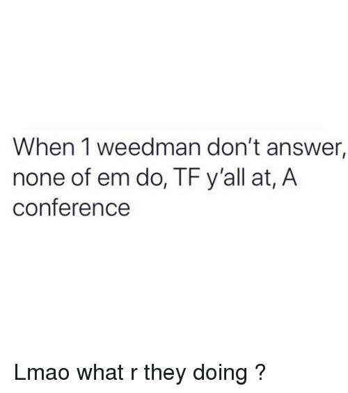 What R: When 1 weedman don't answer,  none of em do, TF y'all at, A  conference Lmao what r they doing ?