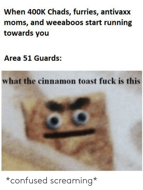 Confused, Moms, and Fuck: When 400K Chads, furries, antivaxx  moms, and weeaboos start running  towards you  Area 51 Guards:  what the cinnamon toast fuck is this *confused screaming*