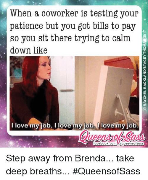 i love my job: When a coworker is testing your  patience but you got bills to pay  so you sit there trying to calm  down like  I love my job. I love my job. Olovemy job  facebook.com  /queens ofsass Step away from Brenda... take deep breaths... #QueensofSass