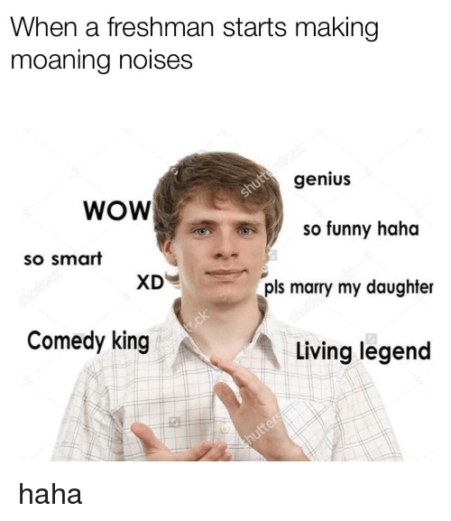 Funny, Wow, and Genius: When a freshman starts making  moaning noises  genius  WOW  y  so funny haha  so smart  XD  pls marry my daughter  Comedy king  小:  Living legend
