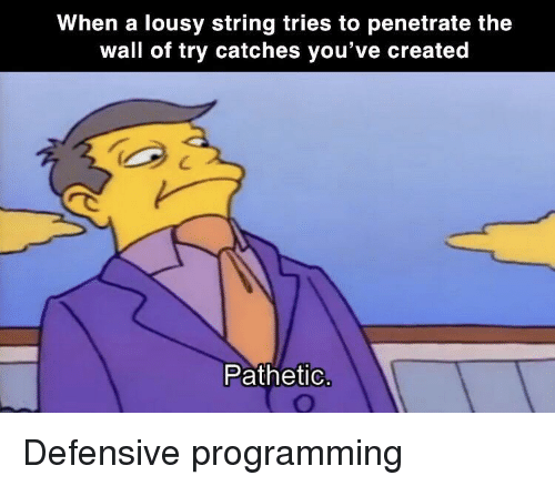 lousy: When a lousy string tries to penetrate the  wall of try catches you've created  Pathetio Defensive programming